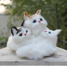 Beautiful Handicraft White Color Realistic Furry Animal Cat Family