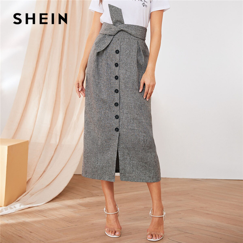 SHEIN Button Front Pleat Detail Belted Skirts Womens Summer Autumn High Waist Straight Solid Office Lady Elegant Long Skirt