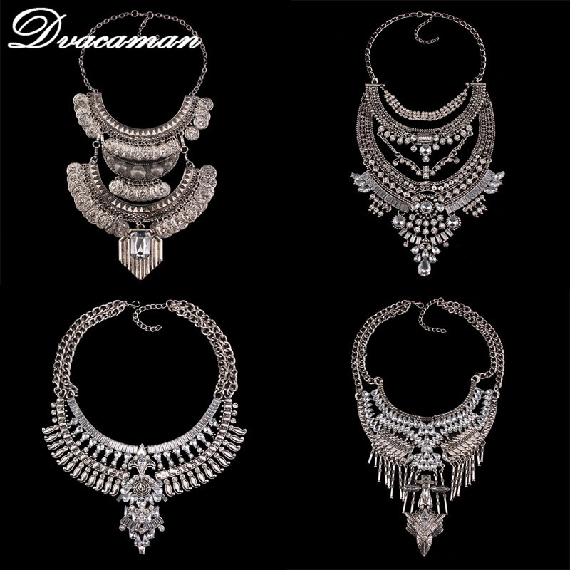 Dvacaman Fashion Jewelry Women Collier Big Vintage Maxi Chunky Necklaces & pendants Maxi Boho Statement Collar Necklace 9820 plus size funnel collar maxi asymmetric hoodie