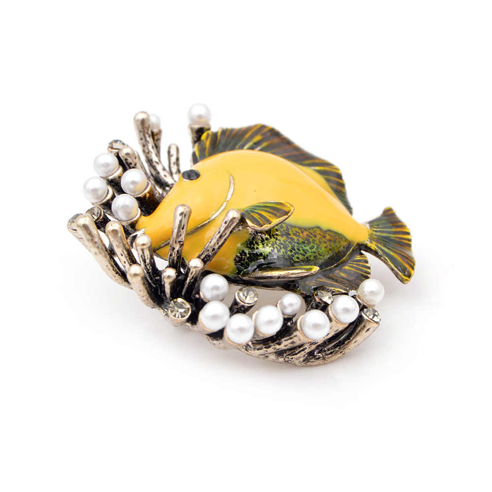 Cindy Xiang Kreatif Mutiara Ikan Bros untuk Wanita Lucu Pesta Kasual Pin Perhiasan Mantel Kemeja Aksesoris Baru 2018