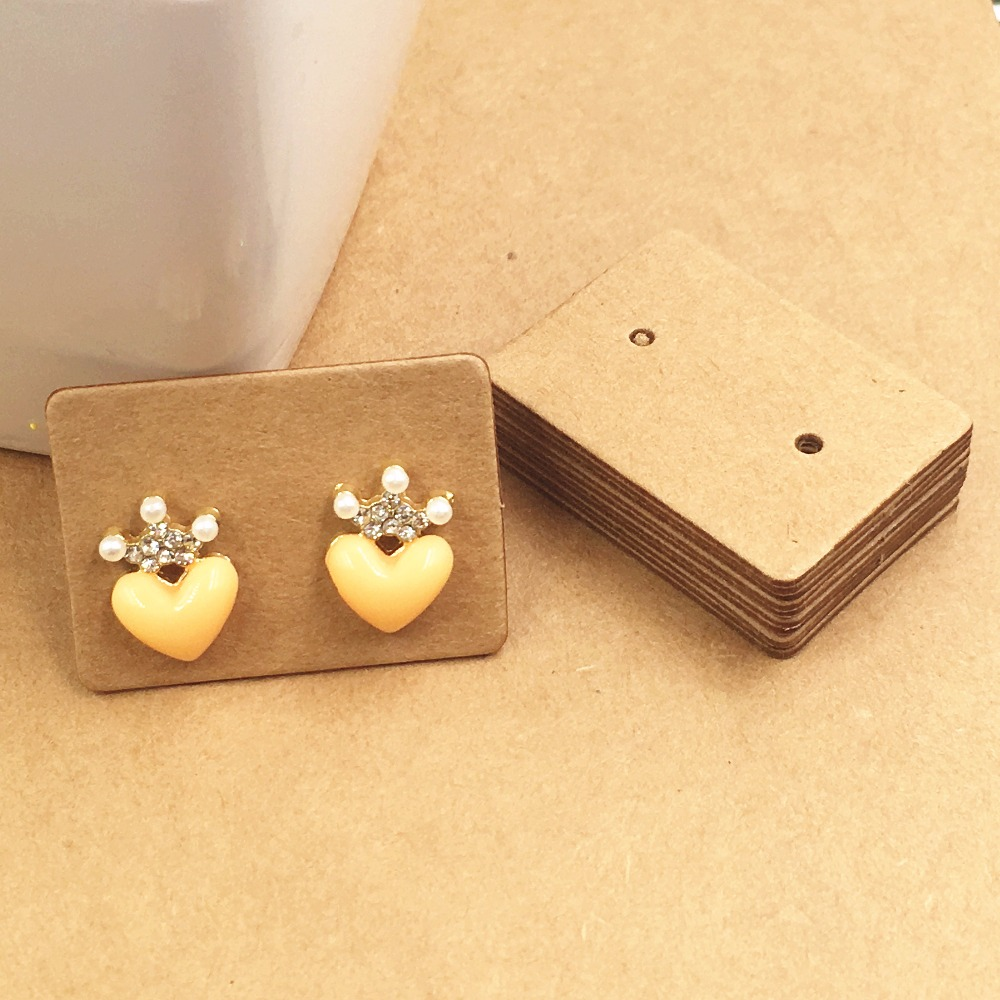 200pcs Natural Kraft Brown Earring Cards Thickening Cardboard Jewelry Ear Studs Packaging Display Tags Accessory In