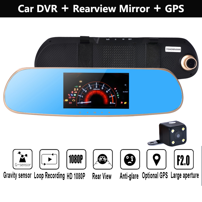 5 inch inch HD Android GPS navigation Car Rear view car dvrs Daul camera video recorder