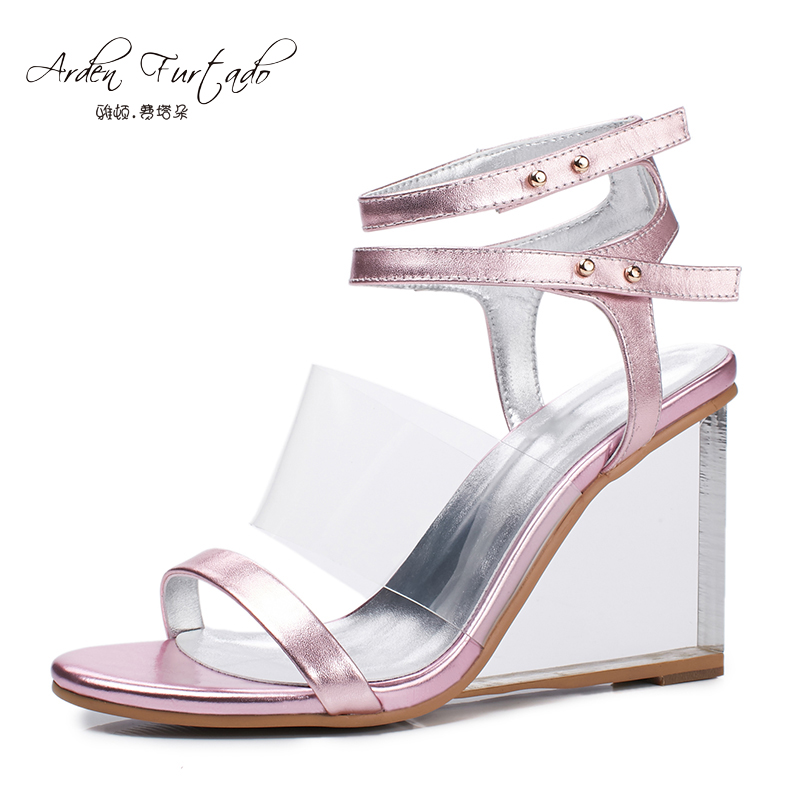 2017 summer shoes for woman wedges transparent crystal ...