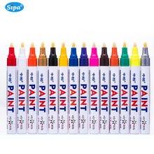 12 stücke sipa 3 MM Permanent Gummi Farbe Kennzeichnung Wasserdichte Öl Farbe Marker Stift Metallic DIY Art Marker Graffiti Farbe