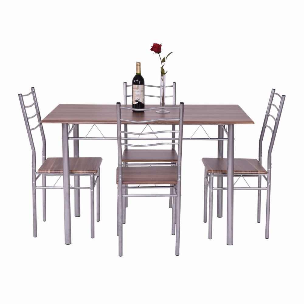 Goplus 5 個ダイニングテーブルセット 1 木製ダイニングテーブル 4 Dinig 椅子金属モダンなキッチン朝食家具 HW55389NA