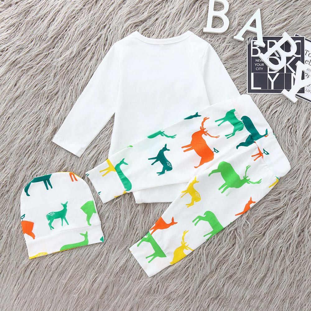 ARLONEET יילוד תינוק ילד ילדה מקרית בגדי תינוקות תינוקת ילד מכתב קשת Romper צבי צמרות מכנסיים בגדי סט L0927