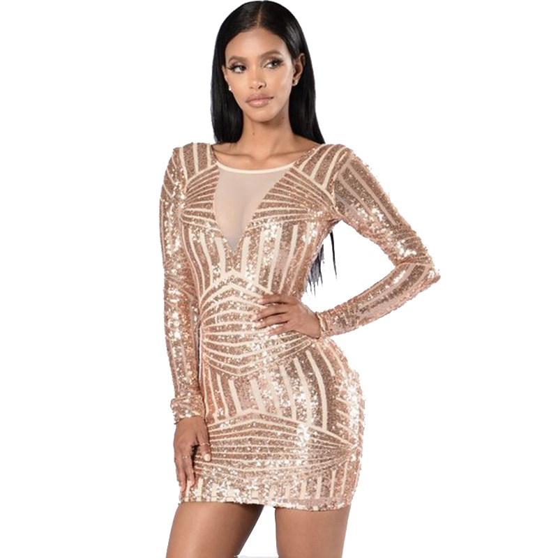 Buy Cheap New Arrival Autumn Women Gold Sequin Dress Long Sleeve Plus Size Bodycon Backless Sexy Dress Mini Party Clubwear CP1633