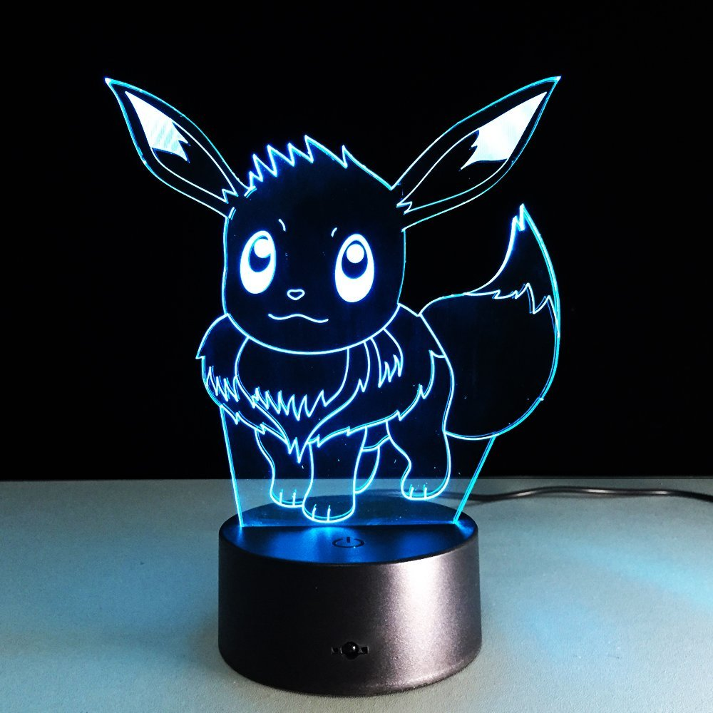 Pokemon Toys EEVEE CHARMANDER SQUIRTLE PIKACHU Lamp Color Change 3D Night Light USB Table Lampara Children