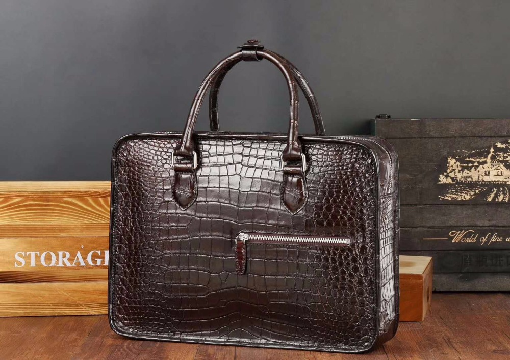 Laptop-Bag Briefcase-Bag Crocodile Brown Business 100%Genuine Skin Black Men