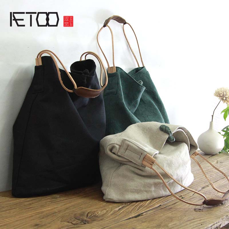 AETOO Large capacity canvas bag retro art single shoulder bag women vintage simple portable large cotton