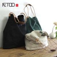 AETOO Large capacity canvas bag retro art single shoulder bag women vintage simple portable large cotton linen handbag