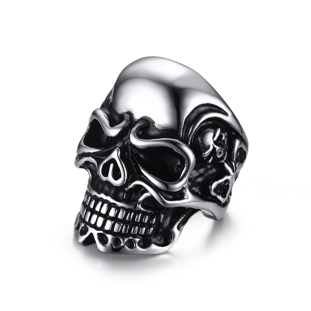 new punk Mens Stainless Steel Ring Band Silver Black Plated Skull Hand Bone Gothic Jewelry Vintage Skeleton Head Style Ring