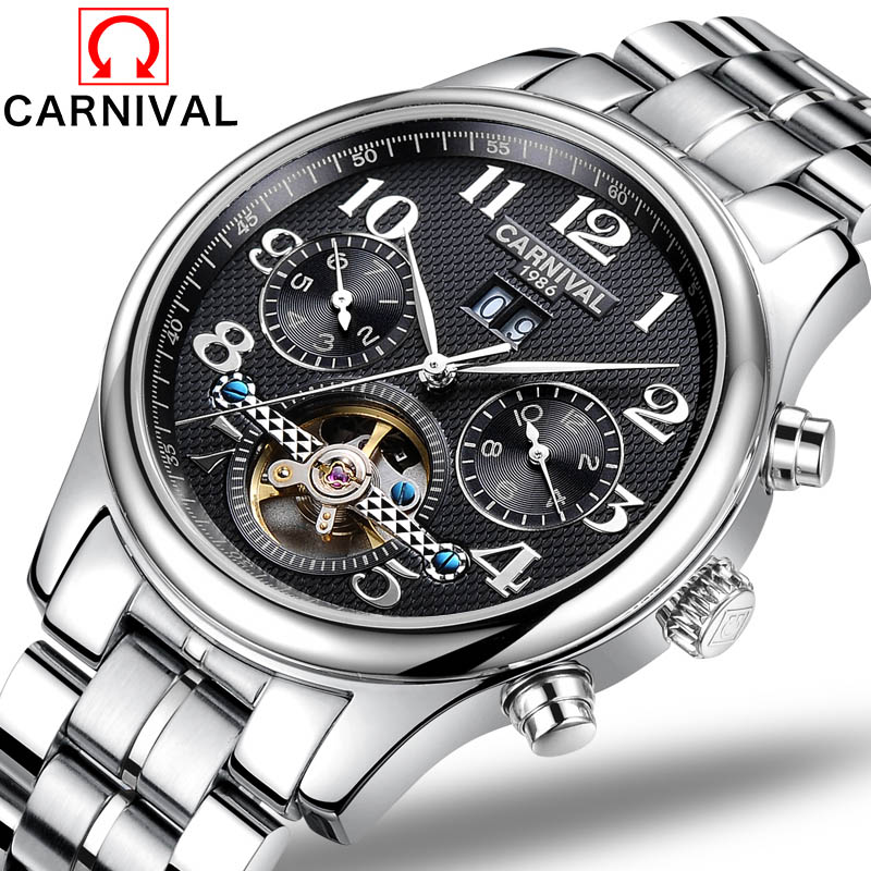 цены Men Watches Automatic Mechanical Watch Tourbillon Sport Clock Stainless Steel Casual Business Retro Wristwatch Relojes Hombre