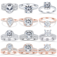 Silverwill sterling 925 silver engagement ring rose gold color 1.5 ct Moissanite female wedding rings for women 2pcs set jewelry