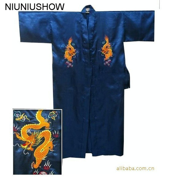 d56102903f Free Shipping Navy Blue Chinese Men s Satin Silk Robe Embroidery Kimono  Bath Gown Dragon Size S M L XL XXL XXXL S0103-E