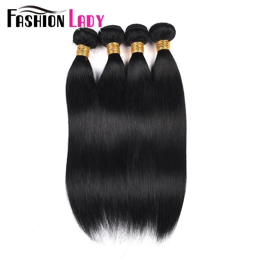 Fashion Lady Pre-Colored Peruvian Straight Hair 4 Bundles 1# Jet Black Human Hair Weave Hair Extensions Non-Remy