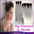 Brazilian Ombre Human Hair T1b/grey Two Tone Ombre Straight Hair 3pcs With 13x4 Lace Frontal Silver Dark Roots Hair Extension