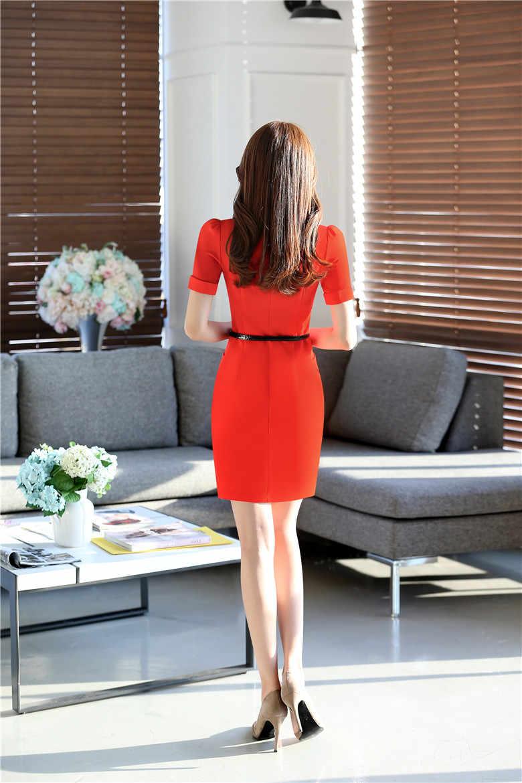 797cca6141d ... Летние модные строгие женские платья короткий рукав женские офисные  работа платье ПР Стиль тонкий женский темно