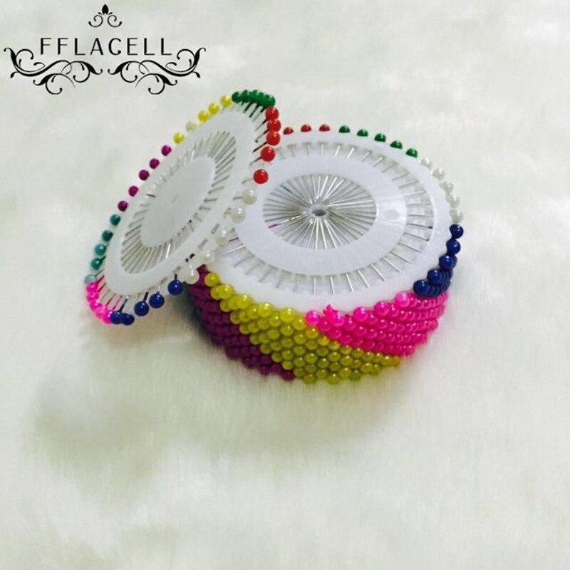 30pcs Dressmaking Sewing Head Pins w// Wheel for Scarf Hijab Craft Water Drop