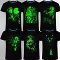 Лето бренд clothing Новинка Мужская футболка homme 3D Glow в Темный Световой майка Мужчины Волк Напечатаны С Коротким Рукавом тройник