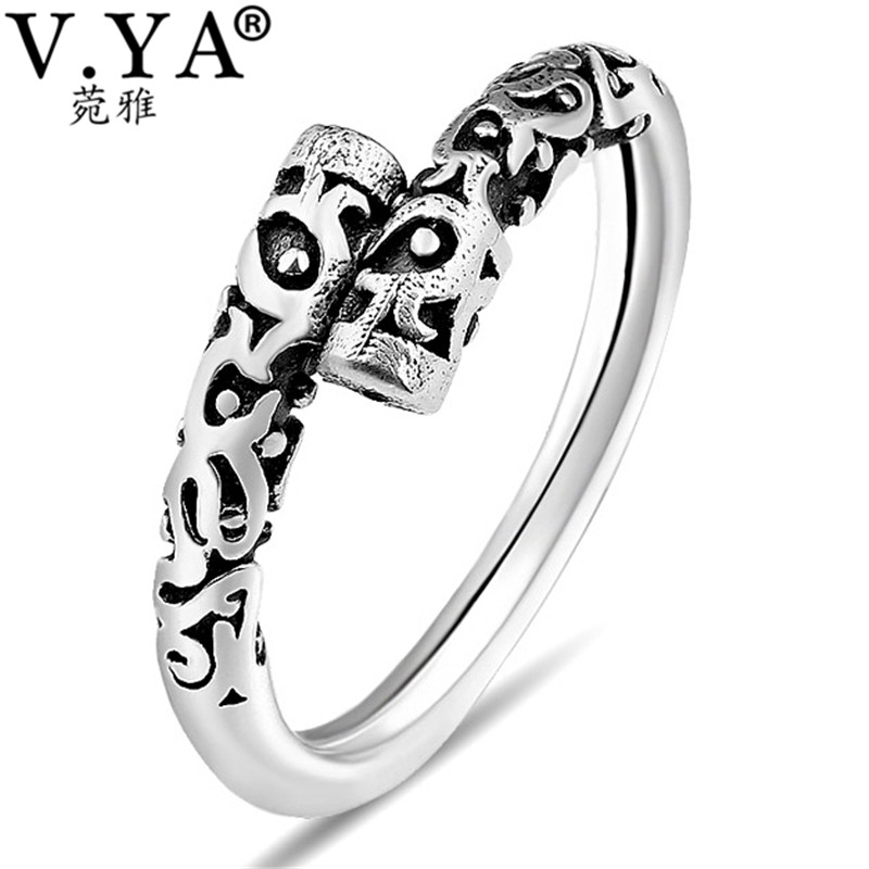 V.YA Cool Adjustable Plant Branches Ring For Men Women Vintage Style Real Pure 925 Sterling Silver Rings Fashion Jewelry