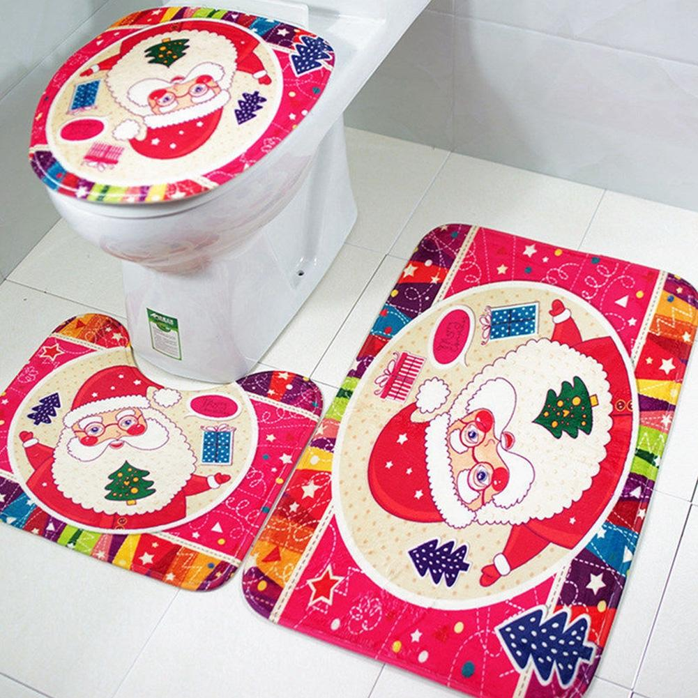 AsyPets 3Pcs/Set Non-Slip Toilet Seat Covers Christmas Decorations Xmas Bathroom Rug Mat Set-15