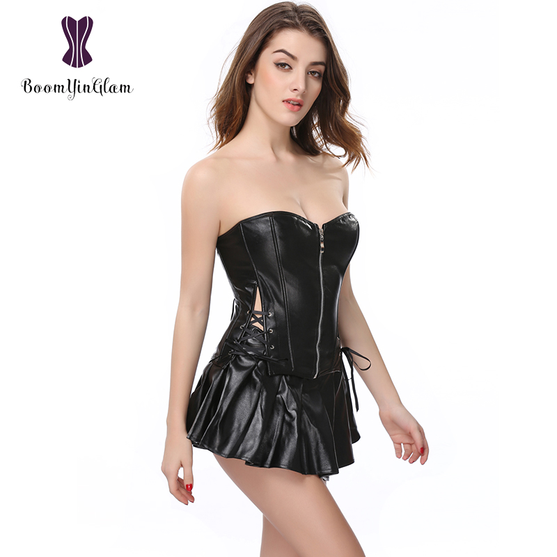 High quality Body Shaper Slimming Waist Shapewear Front Zipper Women   Bustier     Corset   Skirt Set Leather   Corset   Dress 829#