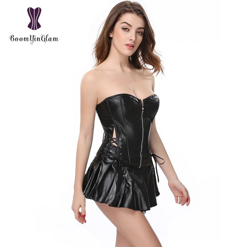 High quality Body Shaper Slimming Waist Shapewear Front Zipper Women   Bustier     Corset   Skirt Set Leather   Corset   Dress 829#