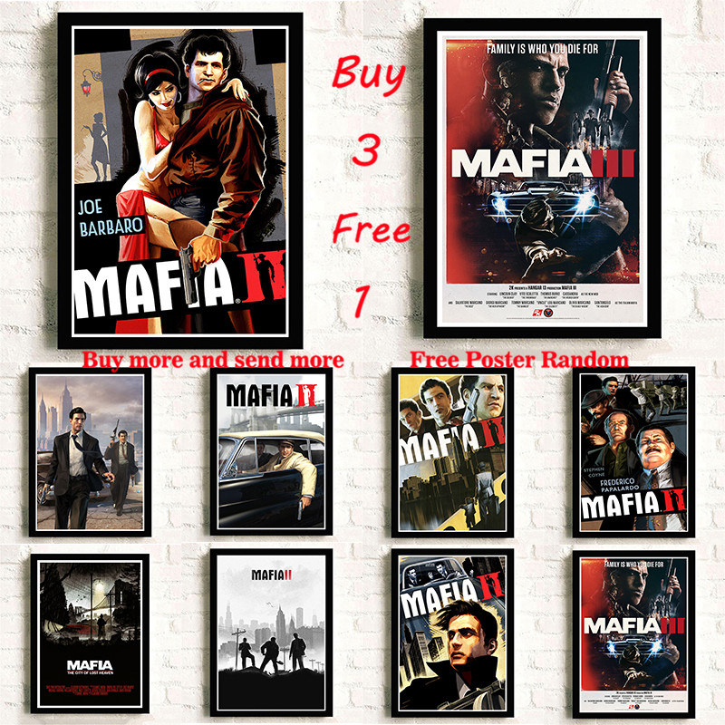 Mafia Coated Paper Poster Video Game Class Bar Cafe Living Room Dining Room Wall Decorative Paintings Frameless