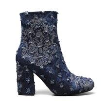 2019 Autumn Winter Women Ankle Boots Print Broken Denim Round Toe High Heels Fashion Ladies Martin Boot Shoes цены