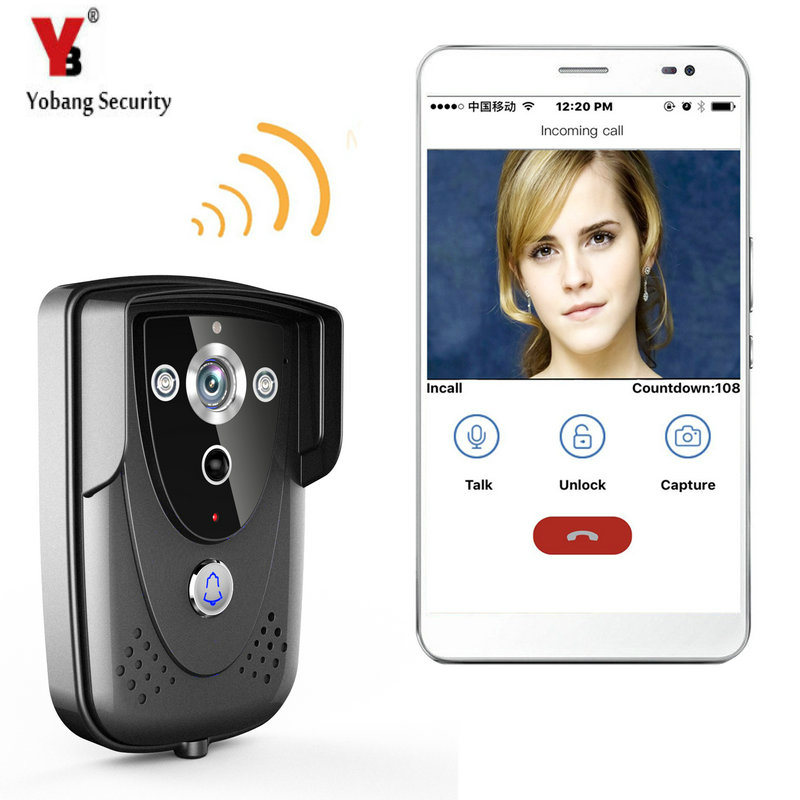 YobangSecurity Wireless Wifi Video Door Phone Doorbell Intercom Entry Camera System Night Vision,Remote unlocking,Recording yobangsecurity video door intercom entry system 2 4g 9 tft wireless video door phone doorbell home security 1 camera 2 monitor