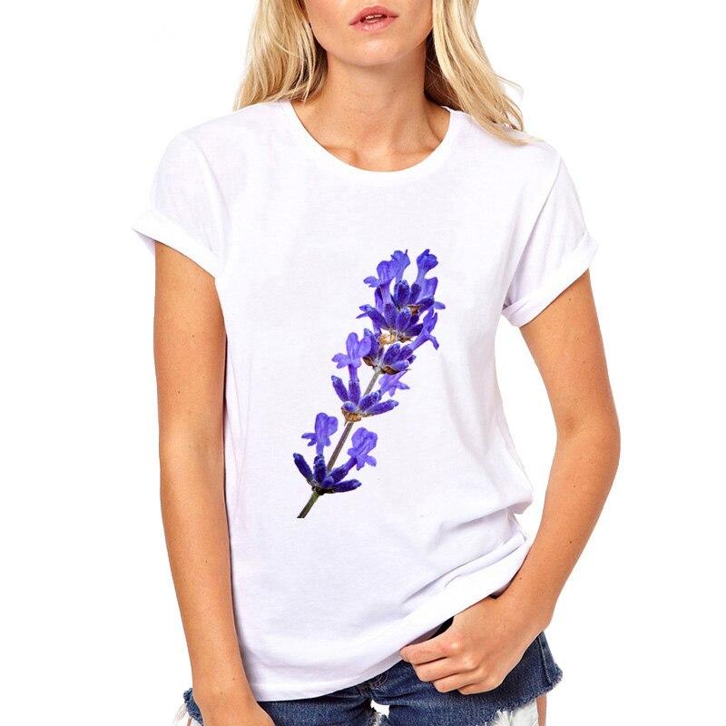 Лавандовые ветви сирени Футболка женская Повседневная белая футболка с коротким рукавом творчество пахучие футболки Крутые Девушки