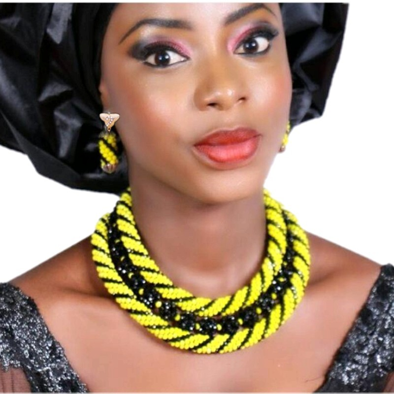Latest Nigerian Beads Necklace Jewelry Sets For Women Yellow & Black African Women Jewellery 3 Layers Round Free Shipping 2018Latest Nigerian Beads Necklace Jewelry Sets For Women Yellow & Black African Women Jewellery 3 Layers Round Free Shipping 2018