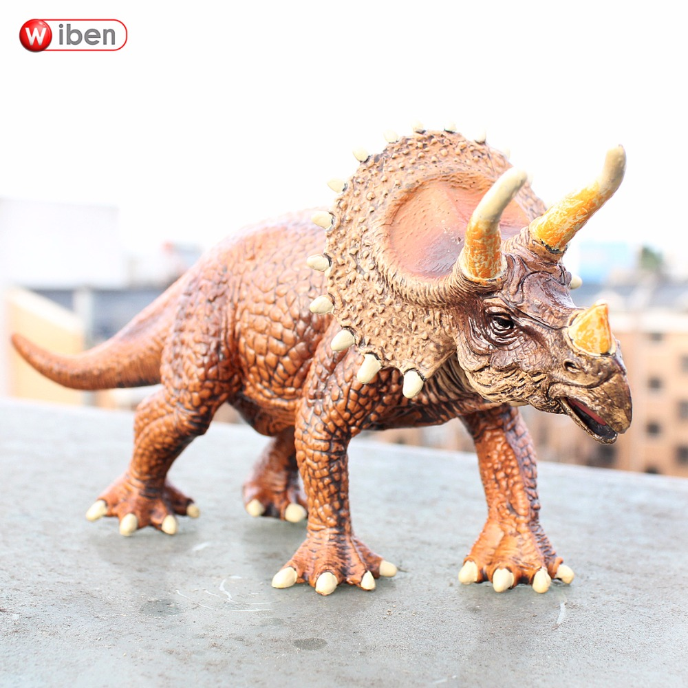 Wiben Jurassic Solid Triceratops Dinosaur Toys Action & Toy Figures Animal Model High Simulation Collection for Boy Gift wiben jurassic acrocanthosaurus plastic toy dinosaur action