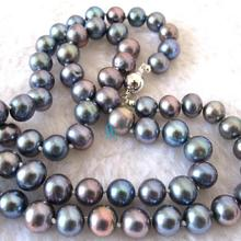 34 inches Long Pearl Jewelry 9-10mm Black Color Freshwater Pearl Necklace New Free Shipping