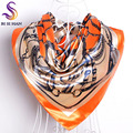Brand Orange Silk Scarf Printed 2016 New Female  Accessories Large Square Scarves Wraps All-match Muslim Ladies Headscarves
