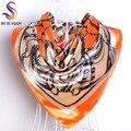 Marca Naranja Bufanda de Seda Impresa 2016 Nueva Mujer Accesorios Bufandas Cuadradas Grandes Envuelve Todo-Fósforo Señoras Musulmanes Pañuelos