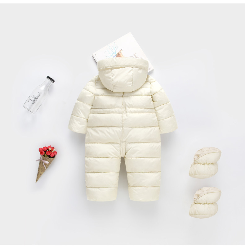 f390f2463 Thick Warm Infant Romper with Footmuff Winter clothes Newborn Baby ...