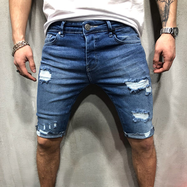 Men's Ripped Hole Denim Shorts Skinny Pencil Short Jeans Plus Size 3XL Knee Length Pants Man Blue Causal Slim Fit Shorts 2019