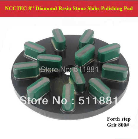 [4th step] 8'' 200mm NCCTEC good Diamond Polishing Pad for Stone Slabs | resin granite Basalt slab polishing tools | 12 segments цена