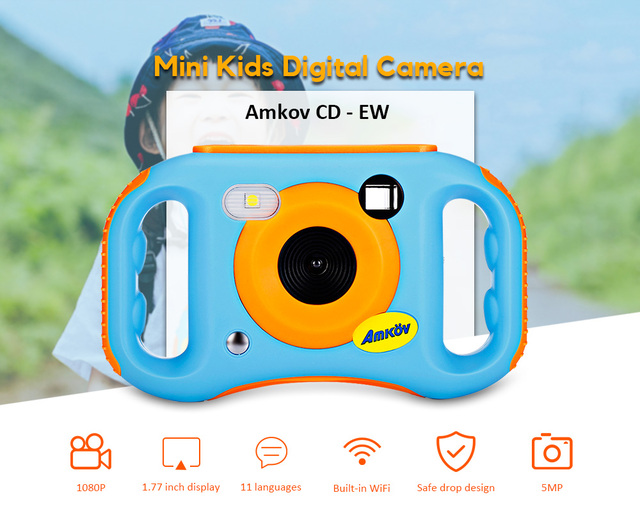 Amkov CD - EW 1.77 inch WiFi 5MP Mini Kids Digital Camera Portable Camera for Kids Gift Children's Educational Toddler Toys