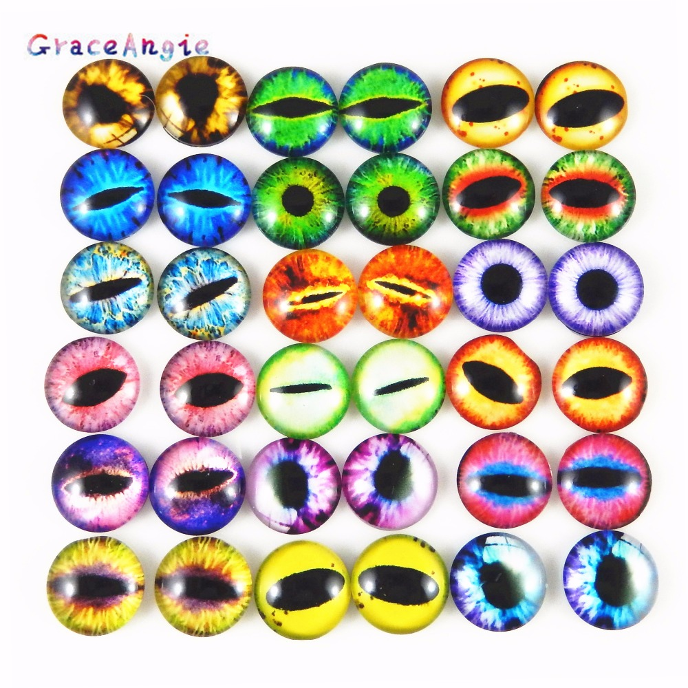 50PCS Round 6MM-10MM Glass Dragon Cat Eyes Cabochon Charms Accessory Glass Cabochon Multi Color Horse Eyes Cat Pattern Crafts
