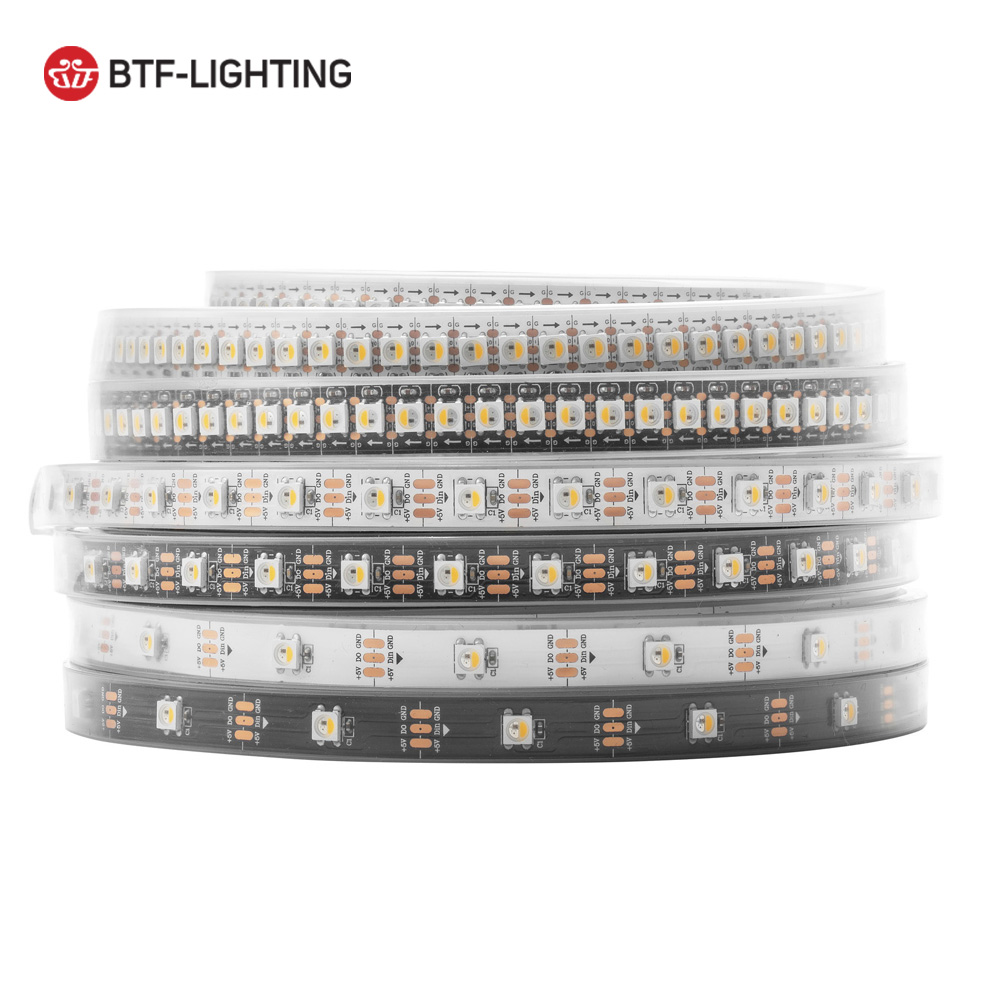 Wholesale 4m/5m SK6812 led strip 30/60/144led/m RGBW+NW/CW/WW 4 in 1 individual addressable IP30/65/67 DC5V 6812 White/Black pcb 5mx new arrival sk9822 5050smd rgb digital flexible led strip light dc5v input 30 32 48 60 72 144led m black pcb free shipping
