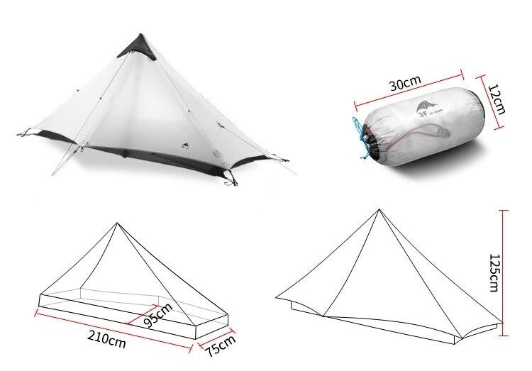 3F UL GETRIEBE 1 Menschen Oudoor Ultraleicht Camping Zelt 3 Saison 1 Einzigen Person 15D Nylon Silicon Beschichtung Kolbenstangenlosen zelt