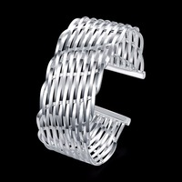 Women S Jewelry Open Bangle 925 Sterling Silver Fashion Charm Wide 26mm Smooth Adjustable Mesh Cross