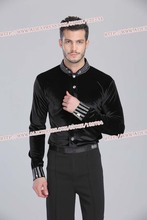 Tailor-Made Men Ballroom Dance Shirt Black Spandex Latin Top Velvet Diamond For Cha Cha/Rumba/Samba/Tango/Jazz/Waltz Wear