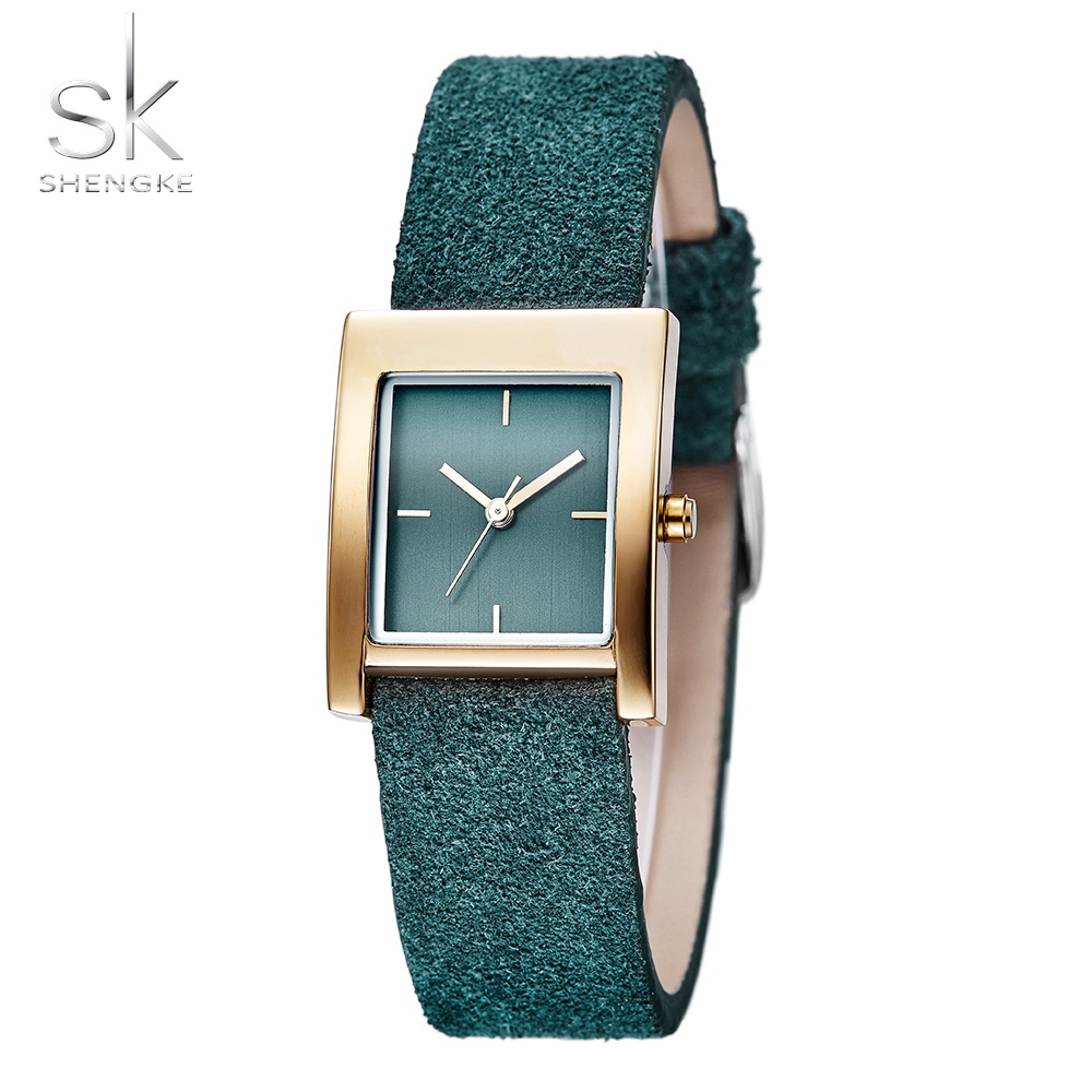 Shengke Brand Fashion Antique Square Quartz Women Watch Ladies Leather Strap Gold Dial Watches Relogio Feminino Montre Femme women fashion watches rose gold rhinestone leather strap ladies watch analog quartz wristwatch clocks hour gift relogio feminino