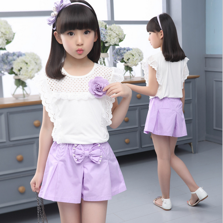 Clothes For Girls Petal-Short-Sleeved Hollow Appliques O-neck Tops+Bowknot Elastic Pants 2 Pieces Girls Sets Ensemble Fille TS09 girls tshirt brand hollow sleeveless o neck baby girl shorts solid elastic waist 2 pieces kids clothes girls 2792w