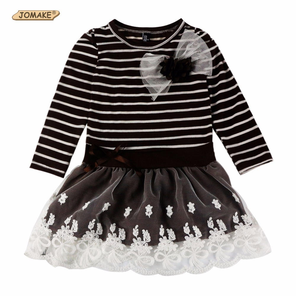 Hot Sale New Autumn Children Wedding Dress Baby Girls Dresses Kids Striped Bow Long-Sleeved Lace Princess Casual Dress For Party