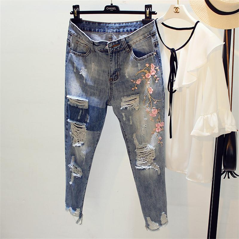 New design high quality woman clothes lady fashion embroidery ankle length mid harem pants jeans
